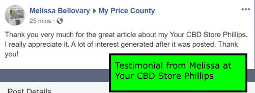 Testimonial from Melissa at Your CBD Store Phillips