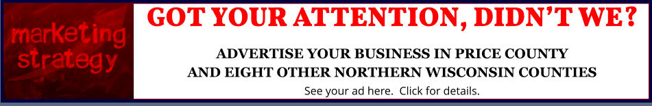 GOT YOUR ATTENTION, DIDN'T WE?ADVERTISE YOUR BUSINESS IN PRICE COUNTYAND EIGHT OTHER NORTHERN WISCONSIN COUNTIES See your ad here.  Click for details.